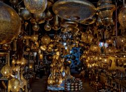 Marrakech medina lamp-shop