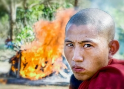 Monk at funeral pyre, Began