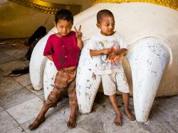 Kids in Shwedagon Pagoda temple complex, Rangoon