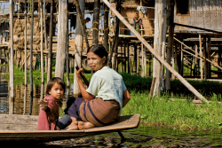 Inle lake woman and child