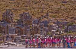 Tour group - old Roman city of Ephesus, Turkey