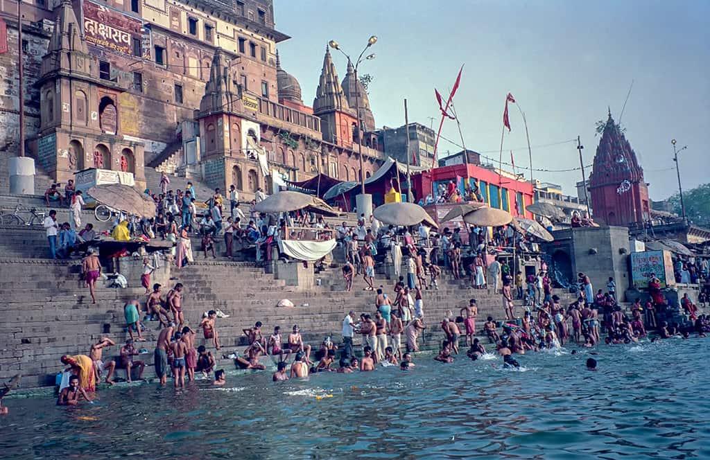 Bathing in the Ganges - Benares, India