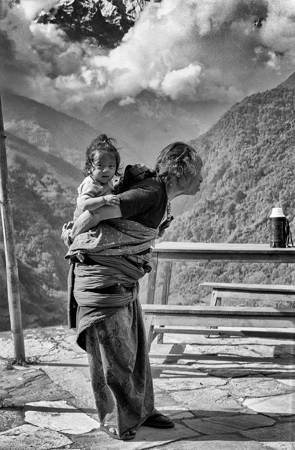 Old woman and child - near Annapurna, Nepal