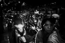 Motorcycle traffic in Saigon at night
