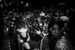 Motorcycle traffic in Saigon at night